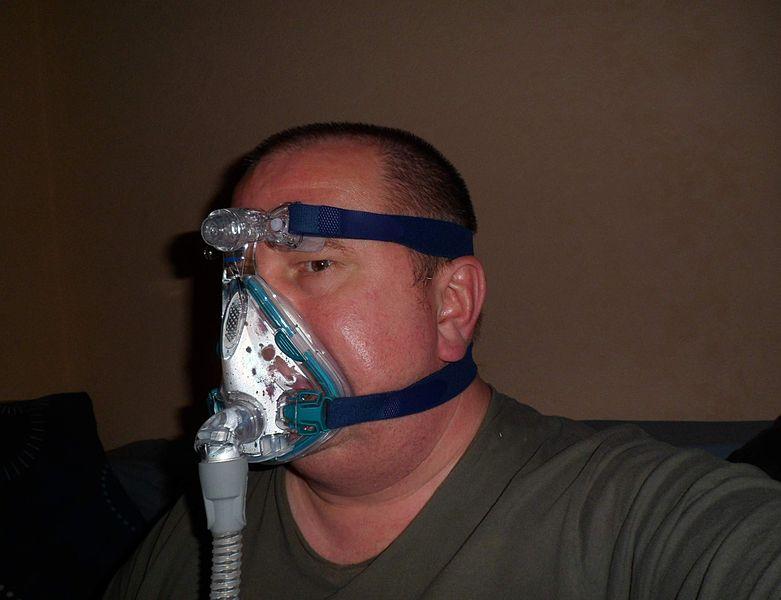 man wearing CPAP mask